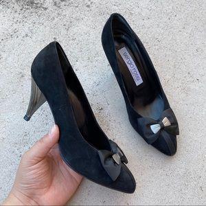 Sergio Rossi Vintage Black Suede Bow Pointed Heel